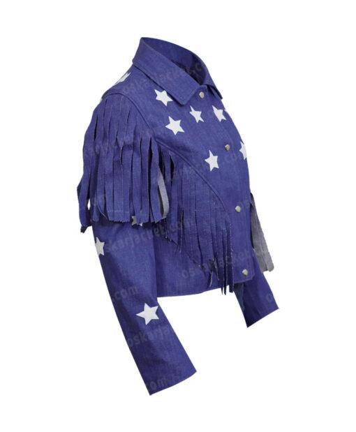 Miss Americana Taylor Swift Fringed Blue Denim Jacket Right