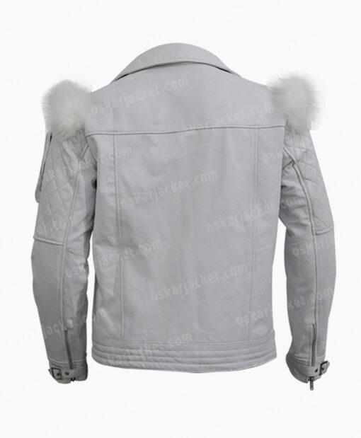 Rocketman Taron Egerton White Leather Biker Jacket Back