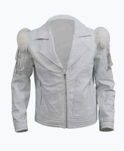 Rocketman Taron Egerton White Leather Biker Jacket Front