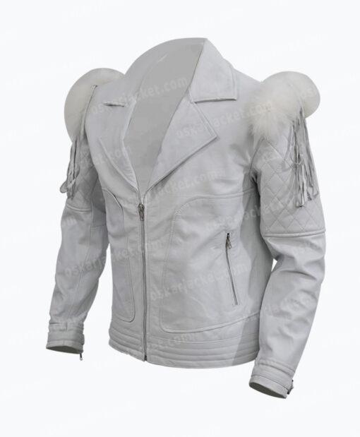 Rocketman Taron Egerton White Leather Biker Jacket Left