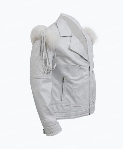 Rocketman Taron Egerton White Leather Biker Jacket Right
