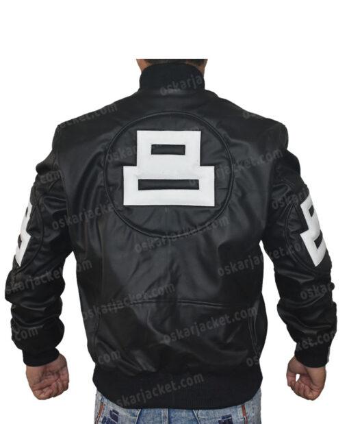 Seinfeld 8 Ball Leather Black Bomber Jacket Back