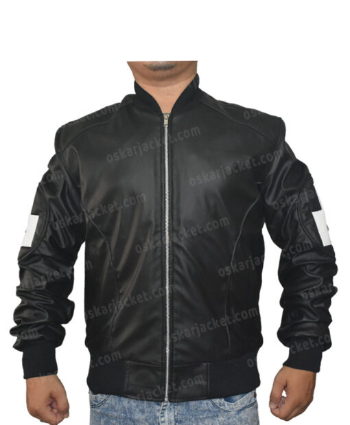 Seinfeld 8 Ball Leather Black Bomber Jacket Front
