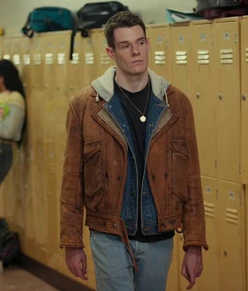 Sex Education Adam Groff Brown Leather Shearling Inner Jacket
