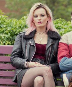 Sex Education Emma Mackey Black Leather Jacket