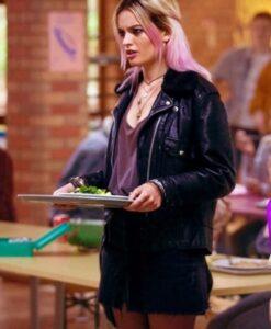 Sex Education Emma Mackey Black Leather Jacket Side