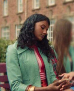 Sex Education Olivia Genuine Leather Aqua Jacket 2