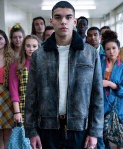 Sex EducationS02 Rahim Distressed Blue Leather Jacket