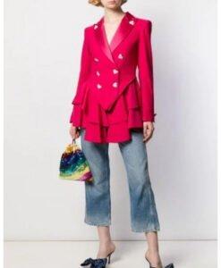 Ted Lasso Season 2 Keeley Jones Pink Heart Button Blazer Front