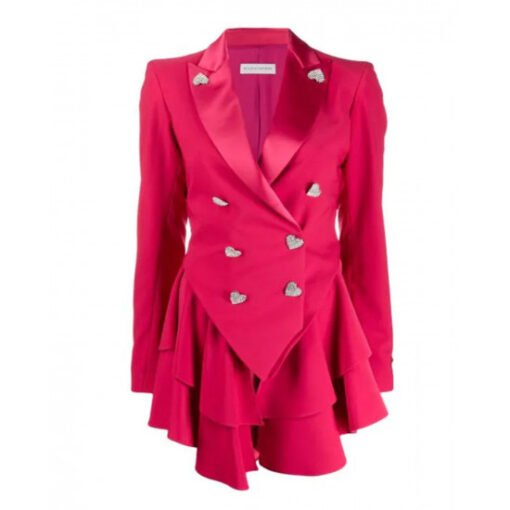 Ted Lasso Season 2 Keeley Jones Pink Heart Button Blazer Img