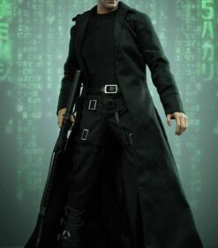 The Matrix Keanu Reeves Black Real Leather Duster Coat