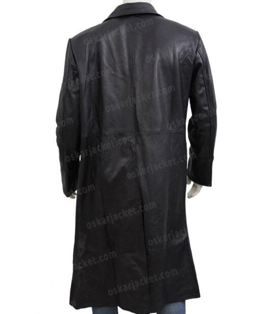The Matrix Neo Black Leather Duster Coat Back