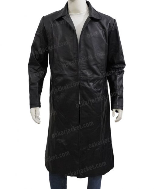 The Matrix Neo Black Leather Duster Coat Front