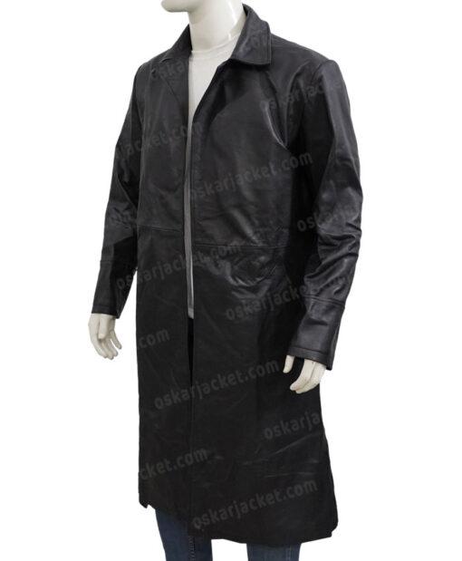 The Matrix Neo Black Leather Duster Coat Left