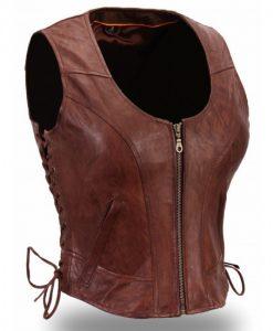 The Walking Dead Michonne Hawthorne Brown Leather Vest Front