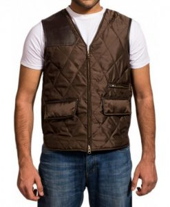 The Walking Dead The Governor Brown Satin Quilted Vest Front