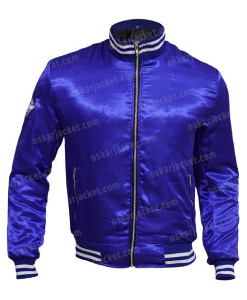 The Watch Evan Satin Blue Varsity Jacket Front