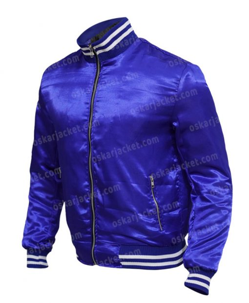 The Watch Evan Satin Blue Varsity Jacket Left