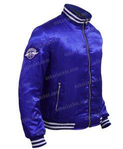The Watch Evan Satin Blue Varsity Jacket Right