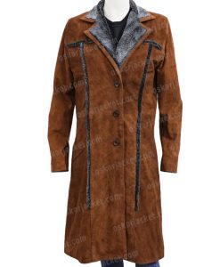 Yellowstone S02 Beth Dutton Leather Trench Coat Front