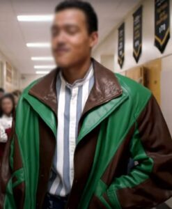 Young Rock Dwayne Johnson Two Tone Leather Jacket