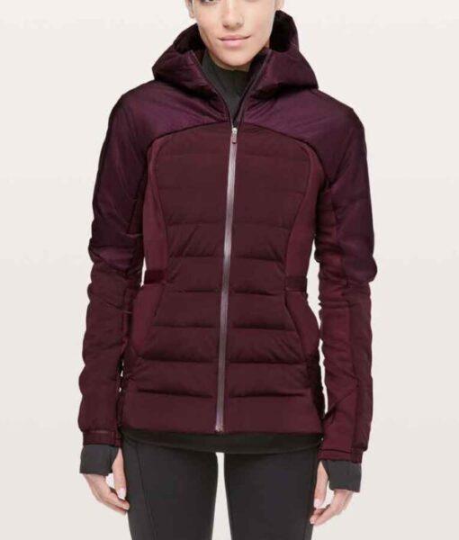 Zero Chill Kayla MacBentley Maroon Hooded Puffer Jacket
