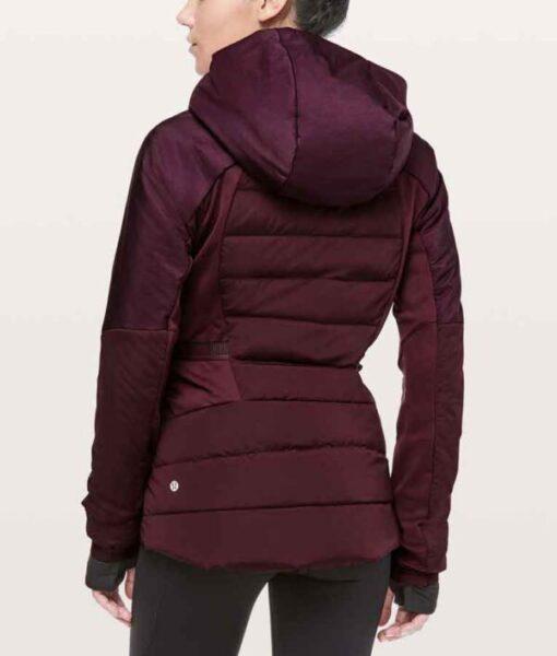 Zero Chill Kayla MacBentley Maroon Hooded Puffer Jacket back