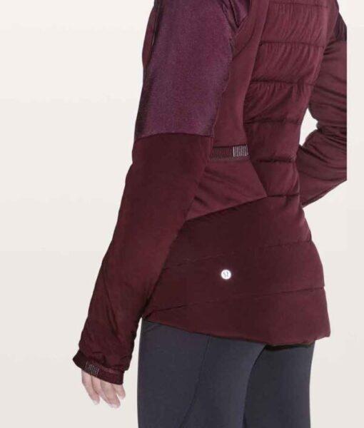 Zero Chill Kayla MacBentley Maroon Hooded Puffer Jacket side